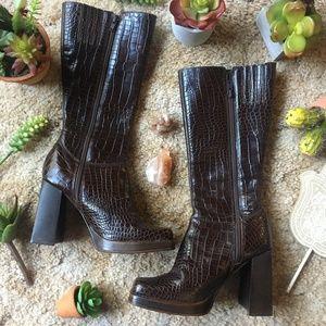 {Steve Madden} Leather Snakeskin Chunky Heel Boots